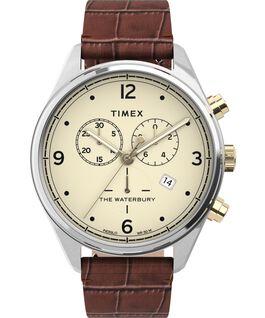 Zegarek Waterbury Traditional Chronograph 42 mm z paskiem skórzanym z motywem imitującym skórę krokodyla Stal nierdzewna/Brązowy/Kremowy large