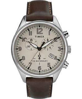 Montre chronomètre Waterbury Traditional trois cadrans 42mm Bracelet en cuir Acier inoxydable/Marron/Brun large
