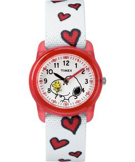 Peanuts 28mm Elastic Fabric Strap Watch Red/White large