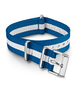 18mm Striped Fabric Slip-Thru Double Layer Strap Blue large