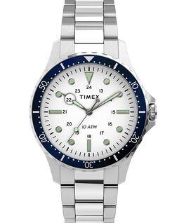 Zegarek Navi XL 41 mm ze stalową bransoletą Stal nierdzewna/Biały large