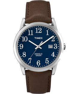 Easy Reader Mens 38mm with Date Leather Watch Silver-Tone/Brown/Blue large
