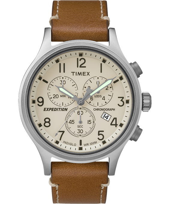 Expedition Scout Chronograph 42mm Leather Watch Silver-Tone/Tan/Natural large
