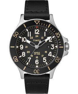 Allied Coastline 43mm Leather Watch Silver-Tone/Black large