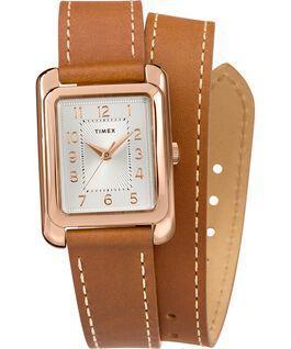 Montre Addison 25mm Bracelet double tour en cuir Or rose/Brun/Argenté large
