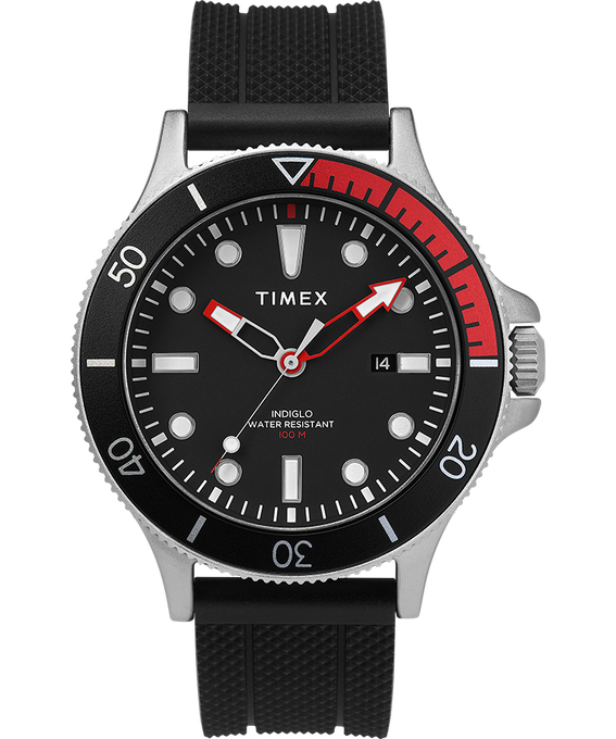 Allied Coastline 43mm with Rotating Bezel Silicone Strap Watch Silver-Tone/Black large
