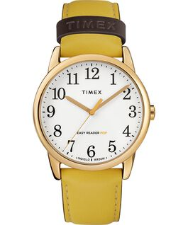 Reloj para mujer Easy-Reader Color Pop exclusivo de 38 mm con correa de piel Dorado/Amarillo/Crema large
