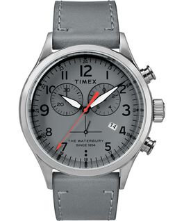 Waterbury Traditional Chronograph Numbered Dial 42mm Leather Watch Stainless-Steel/Gray large