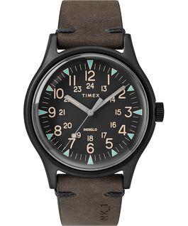 Montre MK1 40mm Acier et Bracelet en cuir Noir/Marron large