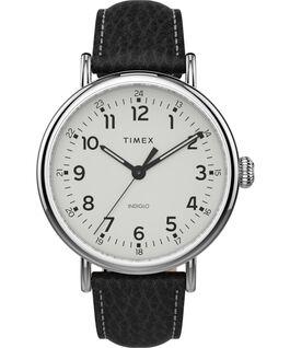 Zegarek Timex Standard XL 43 mm z paskiem skórzanym Srebrny/Czarny/Biały large
