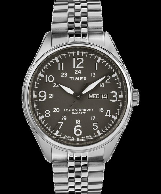 Reloj Waterbury Traditional Day Date con fecha de 42mm con correa metálica de acero inoxidable Acero inoxidable/Negro large