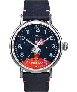 Zegarek Timex x Space Snoopy Standard 40 mm z paskiem skórzanym Srebrny/Niebieski large