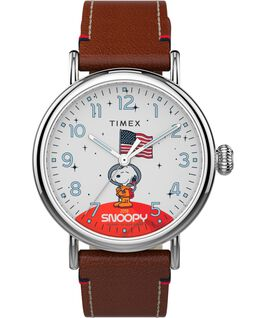 Zegarek Timex x Space Snoopy Standard 40 mm z paskiem skórzanym Srebrny/Brązowy/Biały large