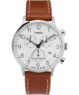 Montre chronomètre Fairfield en cuir de 41mm argentée/beige/blanche grande taille
