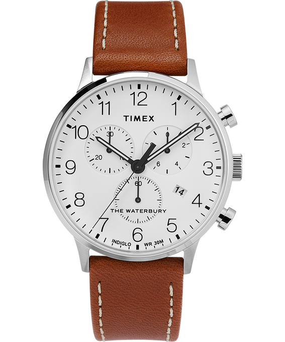 Waterbury-40mm-Classic-Chrono-Leather-Strap-Watch Stainless-Steel/Tan/White large