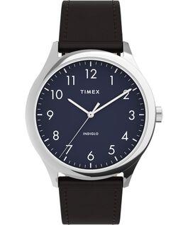Reloj Easy Reader moderno de 40mm con correa de piel Plateado/Marrón/Azul large