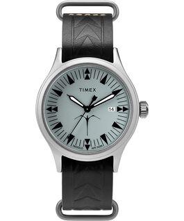 Reloj Timex x Keone Nunes de 40mm con correa de cuero Plateado/Negro/Gris large