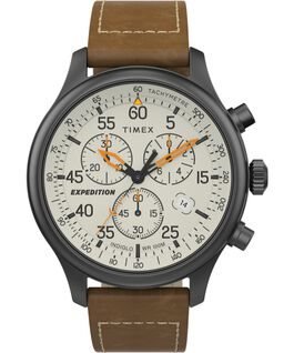 Expedition Field Chronograph 43mm Leather Strap Watch Gunmetal/Brown/Cream large