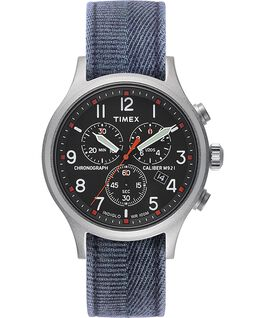 Allied Chronograph 42 mm con cinturino in tessuto stonewashed Silver/Blu/Nero large