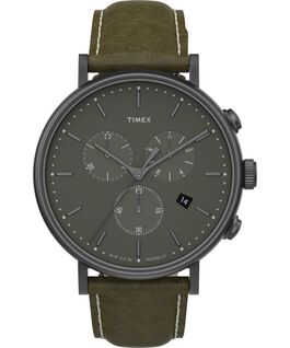 Fairfield Chronograph 41mm Leather Strap Watch Gunmetal/Green large