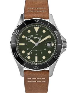 Navi XL Automatic 41mm Leather Strap Watch Stainless-Steel/Brown/Green large