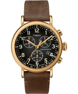 Standard Chronograph 40 mm con cinturino in pelle Gold-Tone/Brown/Black large