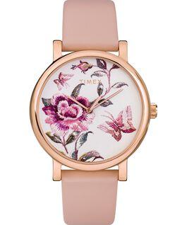 Zegarek Full Bloom 38 mm z paskiem skórzanym Różowe złoto/Różowy large