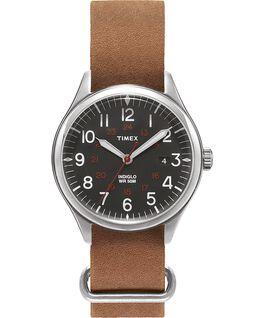Waterbury United 38mm Stonewashed Leather Strap Watch Silver-Tone/Brown/Black large