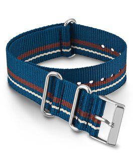 Bracelet une pièce à double couche en tissu 20mm Bleu large