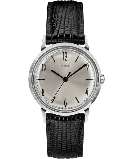 d4a7f01726 Marlin® Hand-Wound 34mm Leather Strap Watch Black/Silver-Tone large