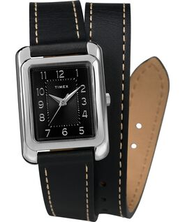 Reloj Addison de 25mm con correa de cuero de doble vuelta Cromado/Negro large