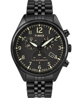 Reloj cronógrafo Waterbury Traditional con tres esferas de 42mm con correa metálica de acero inoxidable Negro large