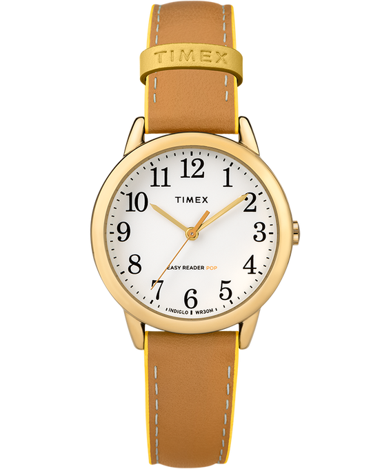 Easy-Reader-30mm-Exclusive-Color-Pop-Leather-Womens-Watch Doré/Brun clair/Jaune large