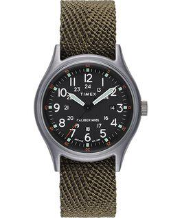 MK1 40mm Fabric Strap Watch Silver-Tone/Green/Black large