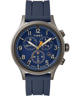 Allied Chronograph 42mm Silicone Strap Watch Gray/Blue large