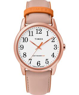 Easy Reader Color Pop 38mm Leather Strap Watch Rose-Gold-Tone/Pink/White large