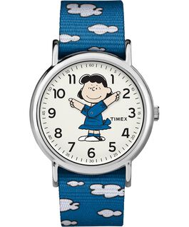 Lucy 38mm Nylon Strap Watch Silver-Tone/Blue/White large
