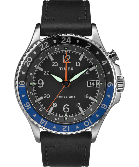 Allied Three GMT 43mm Leather Watch Stainless-Steel/Black large