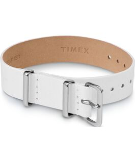 Variety 16mm Leather Slip Thru Single Layer Strap White large