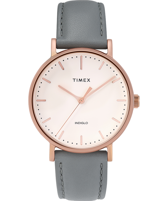 Fairfield 37mm Leather Strap Watch Rose-Gold-Tone/Gray/Cream large