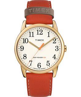 Easy-Reader-Damenuhr-exklusives-Color-Pop-Lederarmband-38-mm Goldfarben/orange/cremefarben large