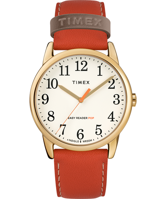 Reloj para mujer Easy-Reader Color Pop exclusivo de 38 mm con correa de piel Dorado/Naranja/Crema large