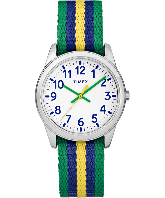 30mm Kids Striped Nylon Analog Watch Silver-Tone/Green/White large