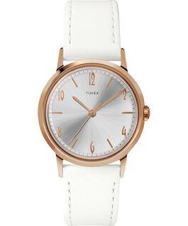 Zegarek Marlin Ladies 34 mm z paskiem skórzanym, ręcznie nakręcany Różowe złoto/Biały large