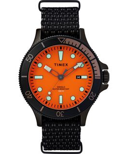 Montre Allied Coastline 43 mm avec lunette rotative et bracelet en tissu Noir/Orange large