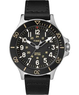 Allied Coastline 43mm Leather Watch Silver-Tone/Black large