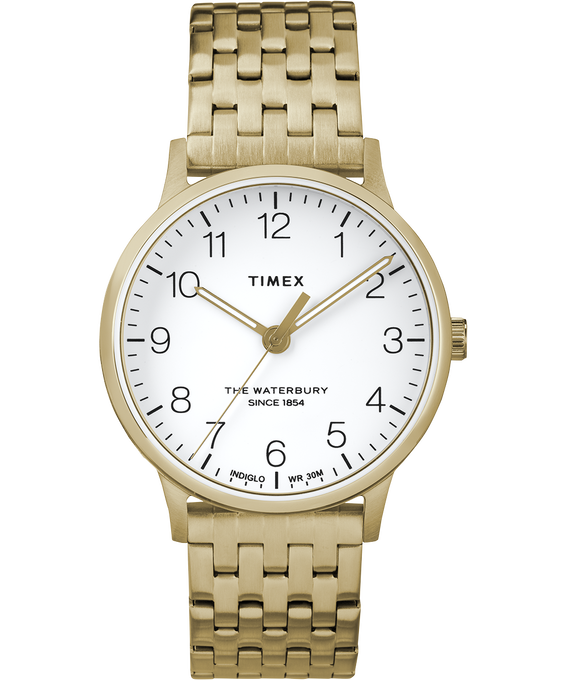 Waterbury 36mm Classic Stainless Steel  Strap Watch Gold-Tone/White large
