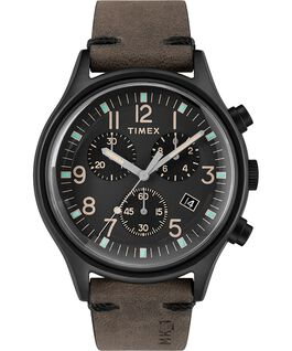 MK1 Chronograph Steel 42mm Leather Strap Watch Black/Brown large