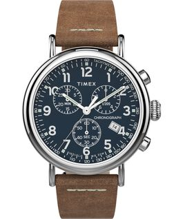 Standard Chronograph 41mm Leather Strap Watch Silver-Tone/Tan/Blue large