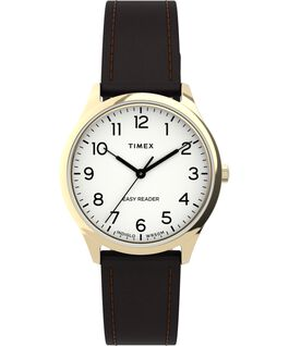 Easy Reader Gen1 32mm Leather Strap Watch Gold-Tone/Brown/White large